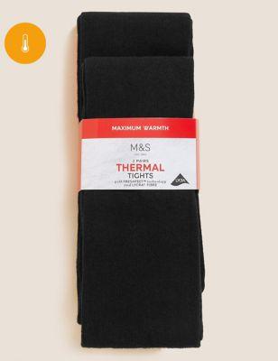 2pk Wool Thermal Tights