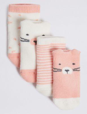 4pk of Bear Terry Baby Socks (0-12 Mths)