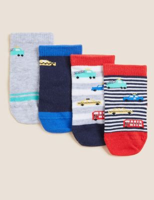 4pk Cotton Transport Baby Socks (0-24 Mths)