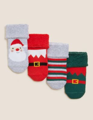4pk Terry Christmas Baby Socks (7lbs - 24 Mths)
