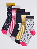 5 Pairs of Star Socks (1-14 Years)