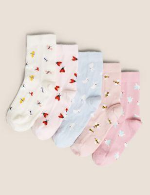 5pk Cotton Butterflies & Bees Socks