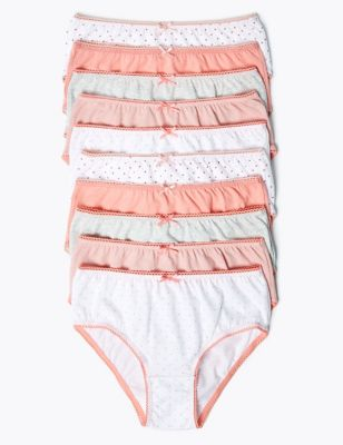 10pk Pure Cotton Spotted Knickers (2-16 Yrs)