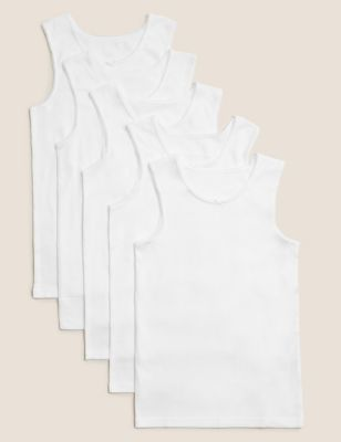 5pk Pure Cotton Vests (2-16 Yrs)