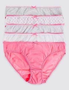 T71/1506D: 5 Pack Pure Cotton Bikini Knickers (6-16 Years)