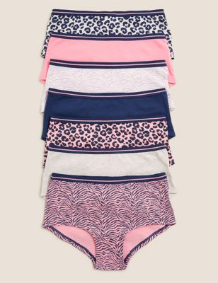 7pk Cotton with Stretch Leopard Shorts (2-16 Yrs)