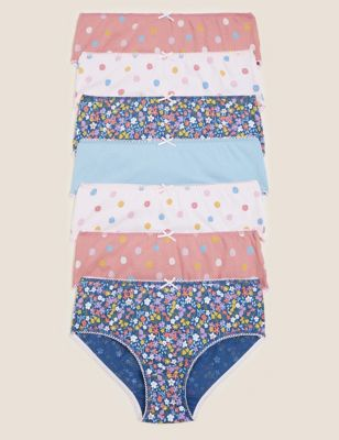 7pk Pure Cotton Floral and Spotty Knickers (1-16 Yrs)