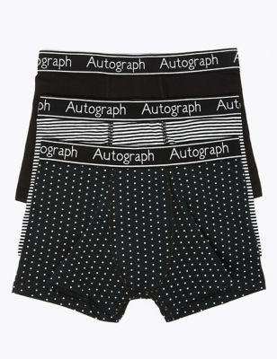3 Pack Cotton with Lycra® Mono Print Trunks (6-16 Yrs)