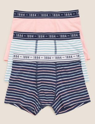 3pk Cotton with Stretch Striped Trunks (6-16 Yrs)