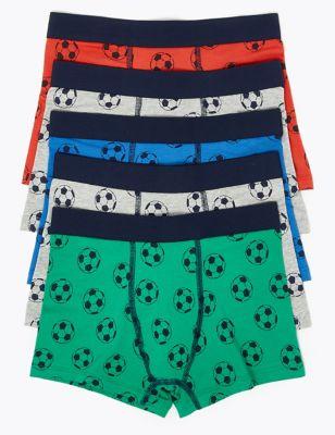 5 Pack Cotton Rich Football Print Trunks (2-16 Yrs)
