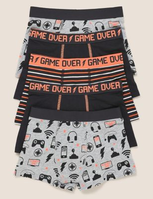 5pk Cotton with Stretch Game Print Trunks (2-16 Yrs)