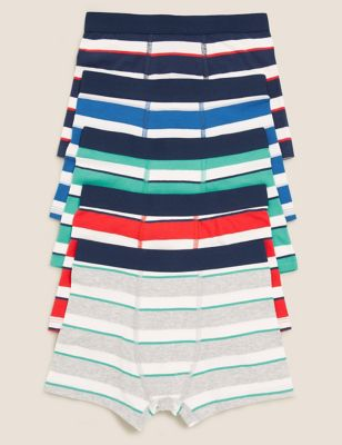 5pk Cotton with Stretch Striped Trunks (2-16 Yrs)