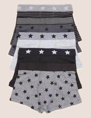 5pk Cotton Star Trunks (2-16 Yrs)