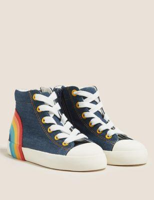 Kids' Denim Rainbow High Top Trainers (5 Small - 12 Small)