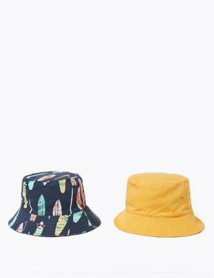 Kids' 2 Pack Pure Cotton Surfboard Sun Hats (1-6 Yrs)