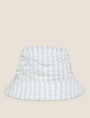 Kids' Cotton Gingham Sun Hat (0-12 Mths)