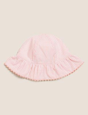Kids' Pure Cotton Seersucker Sun Hat (0-12 Mths)