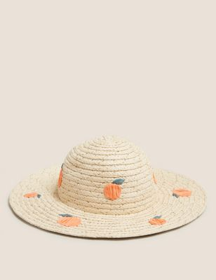 Kids Straw Peaches Sun Hat (1-13 Yrs)