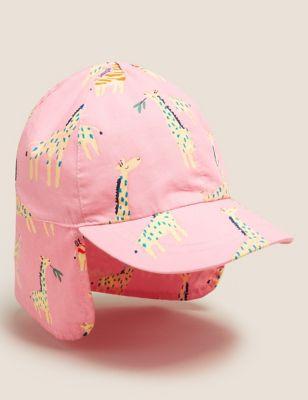 Kids' Pure Cotton Giraffe Print Sun Hat (3-6 Yrs)