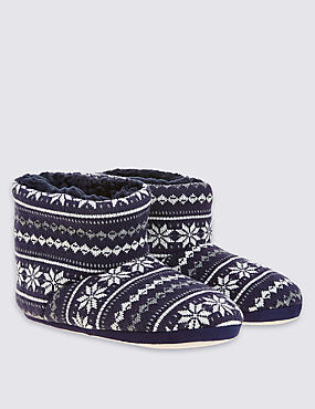 Kids' Fairisle Slippers, NAVY, catlanding