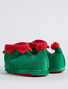 Kids' Elf Slippers, GREEN MIX, catlanding