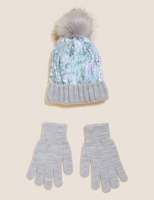 Kids' Sequin Hat and Gloves Set (6-13 Yrs)