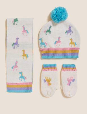 Kids' Unicorn Hat, Scarf and Mittens Set (1-6 Yrs)