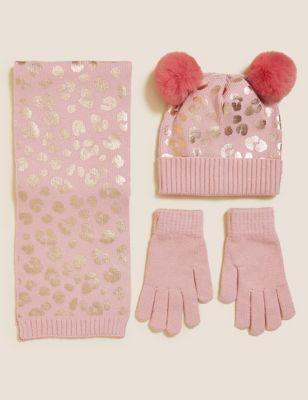 Kids' Leopard Hat, Scarf and Mittens/Glove Set (12 Mths - 13 Yrs)