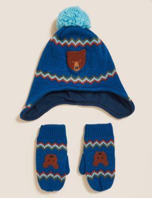 Kids' Animal Hat and Mitten Set (1-6 Yrs)