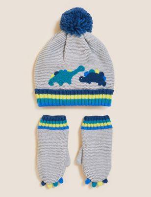 Kids' Dinosaur Hat and Mitten Set (12 Mths - 6 Yrs)