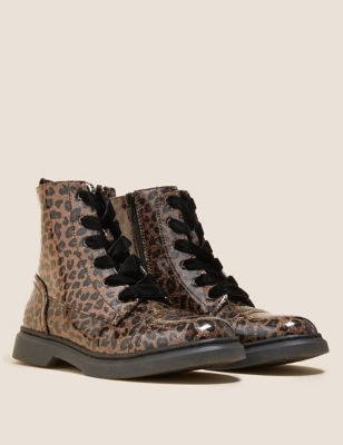 Kids' Freshfeet™ Leopard Lace Boots (13 Small - 6 Large)