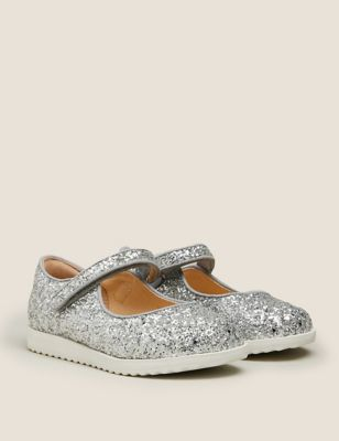 Kids' Glitter Riptape Mary Jane Shoes (5 Small - 12 Small)