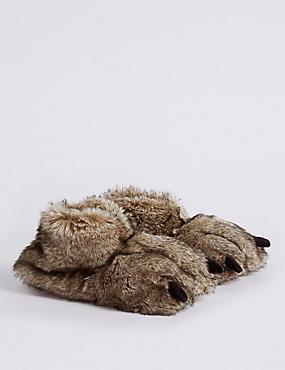 Kids' Faux Fur Slippers, BROWN, catlanding