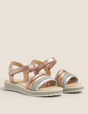 Kids' Riptape Metallic and Glitter Sandals (13 Small - 6 Large)