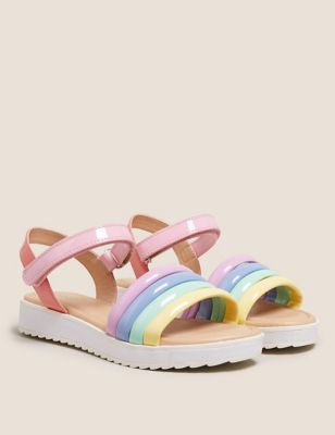 Kids' Rainbow Riptape Sandals (13 Small - 6 Large)