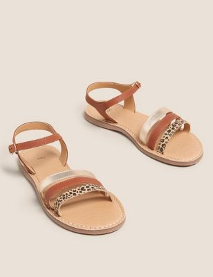 Kids' Leather Animal Print Sandals (13 Small - 6 Large)