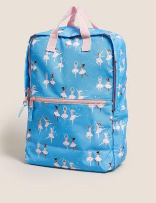 Kids' Ballet Print Water Repellent School Backpack