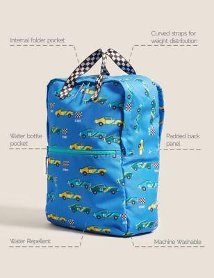 Kids' Water Repellent Racing Car School Backpack