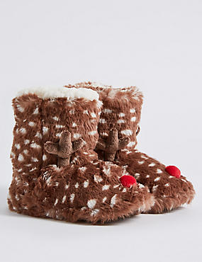 Kids' Faux Fur Reindeer Slipper Boots , BROWN MIX, catlanding