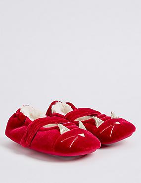 Kids' Novelty Velvet Slippers, RED, catlanding