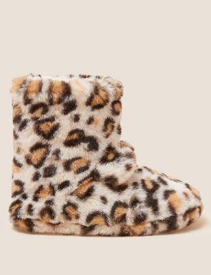 Kids' Faux Fur Leopard Slipper Boots (5 Small - 6 Large)
