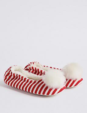 Kids' Knitted Pom-pom Slippers, RED MIX, catlanding