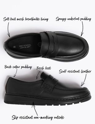 Kids' Leather Slip On Loafers School shoes (13 Small - 9 Large)