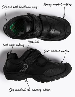 Kids' Leather Riptape School Shoes (8 Small - 1.5 Large)