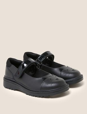 Kids' Leather Mary Jane Cat School Shoes (8 Small - 1 Large)