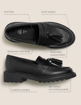 Kids' Leather Slip-on School Shoes (13 Small-7 Large)
