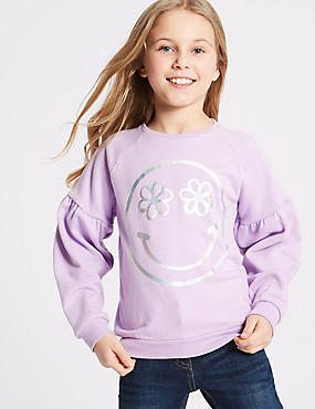 Smile Face Print Sweatshirt (3-16 Years), VIOLET, catlanding