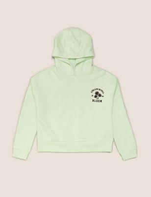 Cotton Flower Embroidered Slogan Hoodie (6-14 Yrs)