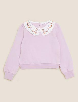 Cotton Floral Collared Sweatshirt (6-16 Yrs)