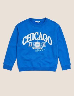 Cotton Chicago Slogan Sequin Sweatshirt (6-16 Yrs)